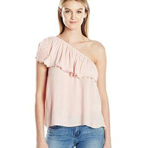 NWT! Taylor & Sage ONE Shoulder RUFFLE Pink TOP